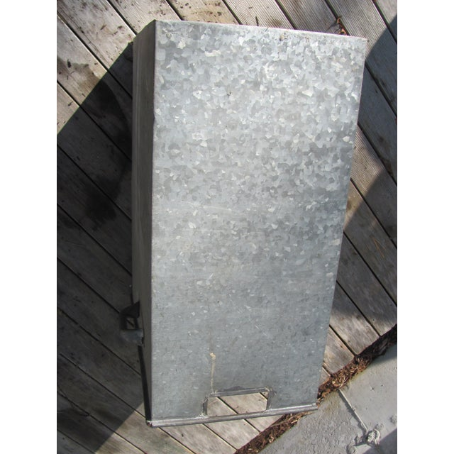 Industrial Style Galvanized Steel Waste Basket For Sale - Image 10 of 13