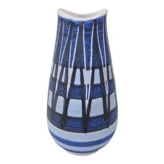 Scandinavian Modern Blue Art Pottery Vase, 1960's For Sale