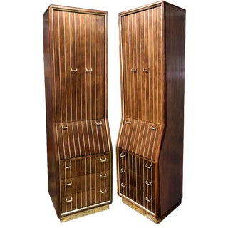 1960s Mid-Century Modern Brass Pinstripe Chifforobes by American of Martinsville - A Pair For Sale