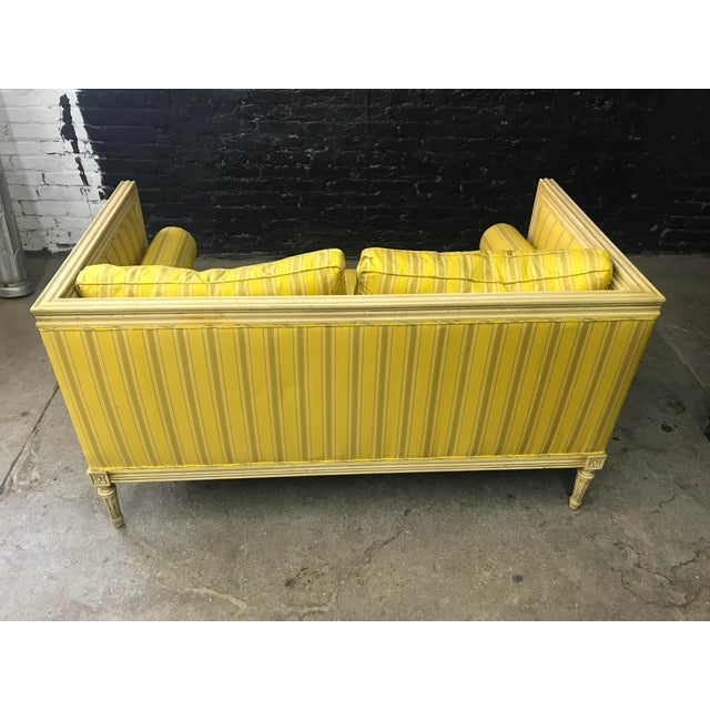 Bright Yellow & Green Stripe French Directoire Louis XVI Settee Loveseat For Sale In Chicago - Image 6 of 13