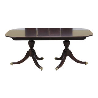 1990s Traditional Stickley Banded Top Mahogany Dining Room Table For Sale