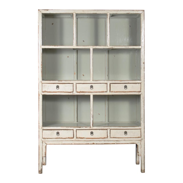 Chinese Open Shelf Cabinet with Cream Colored Lacquer Finish For Sale