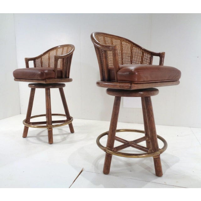 Vintage McGuire Organic Modern Bamboo & Leather Swivel Barstools ~ a Pair For Sale - Image 13 of 13