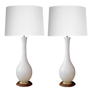 Danish Modern 1960's Ivory-Glazed Ceramic Bottle-Form Lamps With Shades - A Pair For Sale