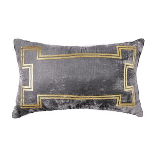 Aria Pewter Velvet Lumbar Pillow With Gold Foil Accents Preview