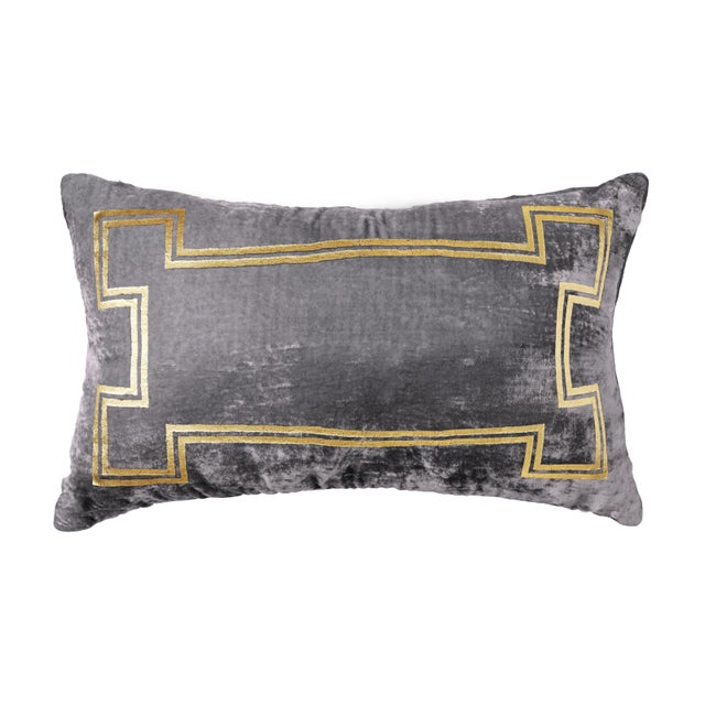 A Pewter silk/viscose velvet lumbar pillow with gold foiling accents. This pillow is brand new and comes complete with the...