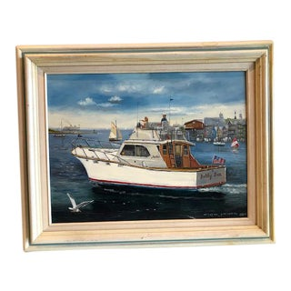 1970's Vintage Seascape Painting by Listed Artist Frank Lovewell For Sale