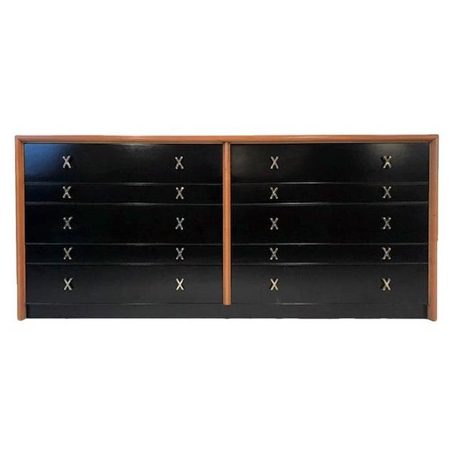 Black Paul Frankl for Johnson Furniture John Stuart Ten Drawer X Pull Dresser Chest For Sale - Image 8 of 8