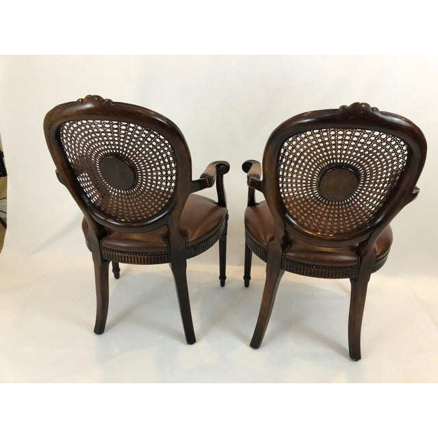 Caned and Cameo Back Armchairs - a Pair For Sale - Image 9 of 13