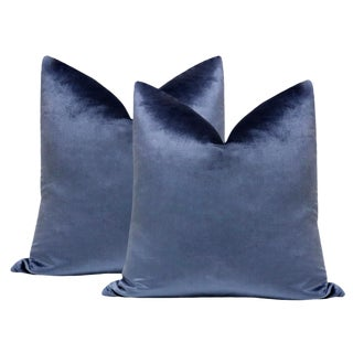 "22"" Prussian Blue Velvet Pillows - a Pair For Sale"