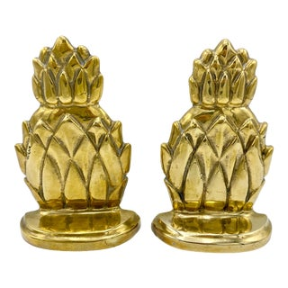 Mid Century Brass Pineapple Bookends - a Pair For Sale