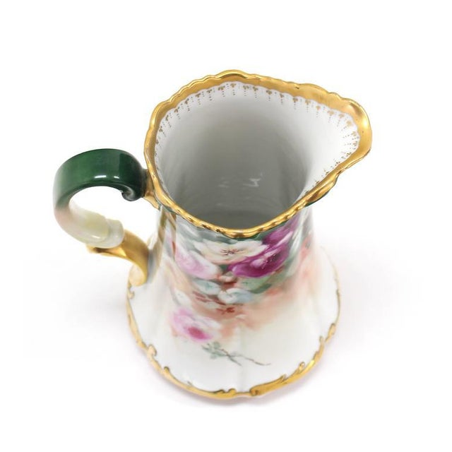Early 20th Century T&V France Floral Vase Shape Flower Painted Porcelain Pitcher For Sale - Image 5 of 8