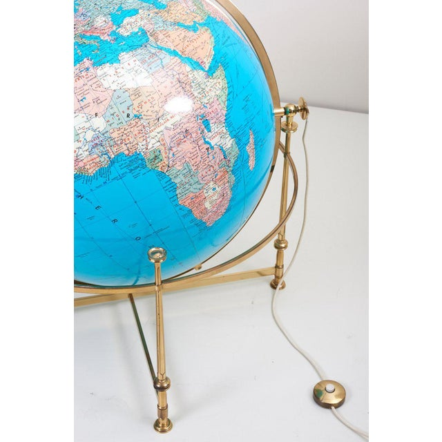 Brass Huge Vintage Illuminated Globe With Brass Stand For Sale - Image 7 of 13