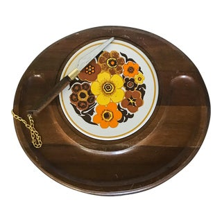 Vintage Retro Floral Oval Cheese Board & Knife For Sale