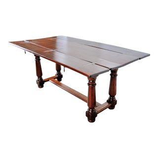 Antique Farmhouse Style Swiss Alpine Mahogany Folding Dining Table or Console For Sale