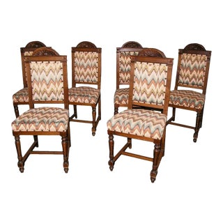 19th Century Tuscan Walnut Chairs- Set of 6 For Sale