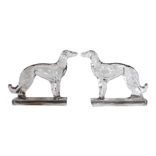 Glass Whippet Bookends For Sale