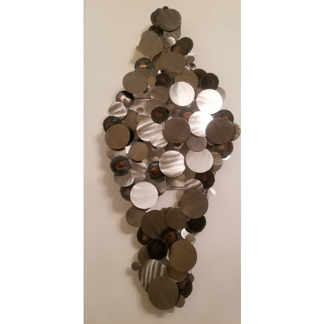 Fabulous Jere rain drop style metal art piece. Can be easily hung vertically or horizintally or even angle. Neutral piece...