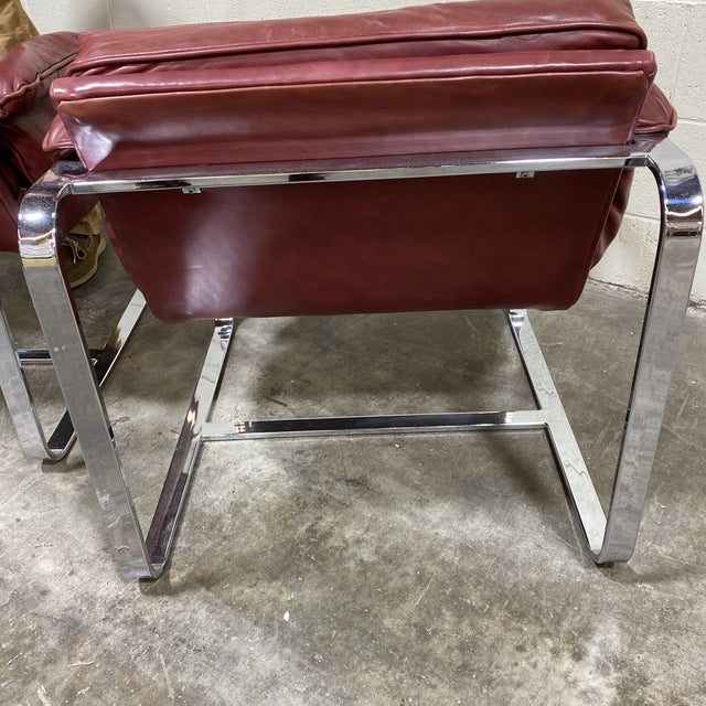 Mid Century Chrome Leather Club Chairs For Sale In Richmond - Image 6 of 12