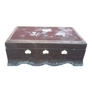 Inlaid Black Lacquer Box For Sale
