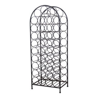 Arthur Umanoff 39-Bottle Wrought Iron Wine Rack For Sale