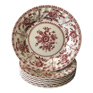 1970s Indies Red Transferware Salad Plates - Set of 7 For Sale