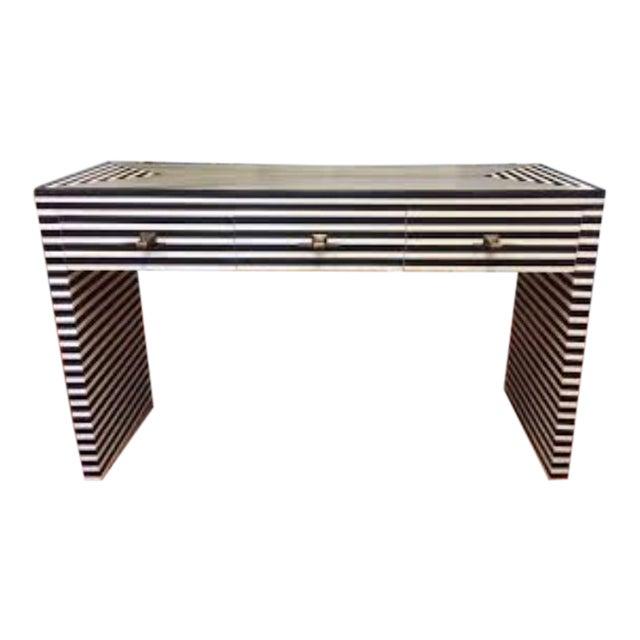 Worlds Away Black & White Bone Sasha Console Table For Sale