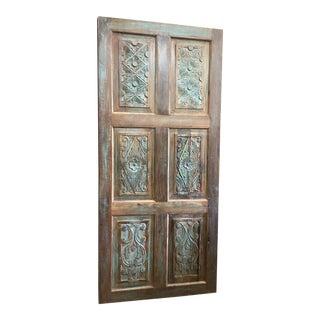 Vintage Distressed Floral Hand Carved Rustic Door For Sale