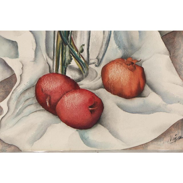 Vintage Mid-Century Still Life With Flowers and Pomegranate Painting For Sale In New York - Image 6 of 12
