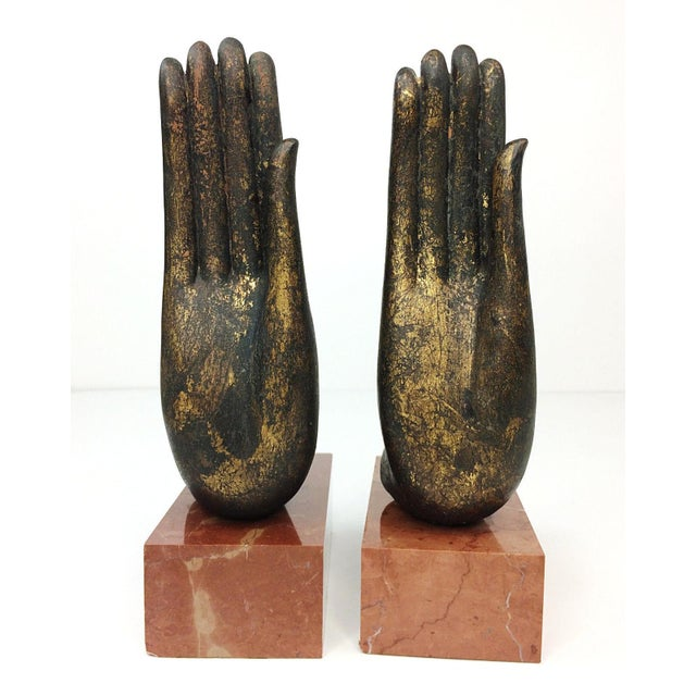 Mottahedeh Italian Bronze Hand & Marble Bookends-A Pair - Image 3 of 8