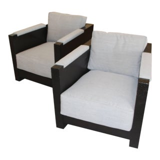 Steve Chase Custom Designed Black Chipped Wood Club Chairs - a Pair For Sale