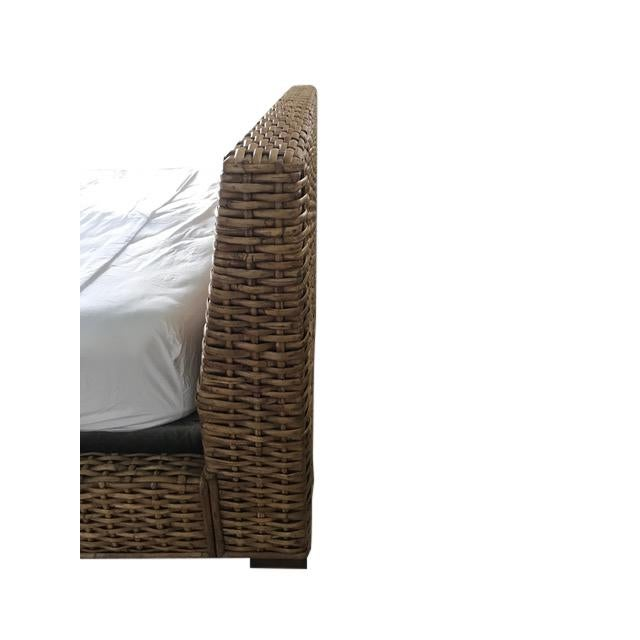 Wood Country Ralph Lauren Woven Rattan King Bedframe For Sale - Image 7 of 8