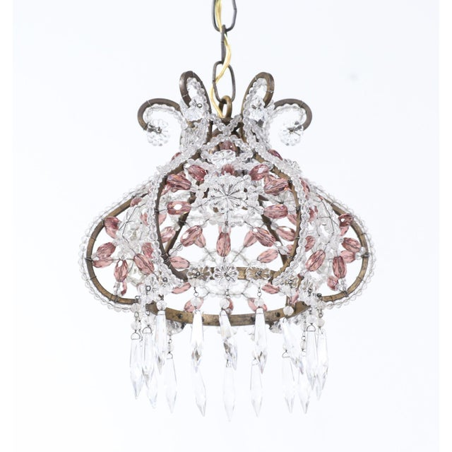 Exquisite, 1950s crystal beaded chandelier pendant in the form of a small crown. The chandelier consists of a wrought iron...