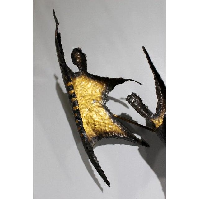 Brutalist Figural Brass Wall Sculpture - Image 6 of 8
