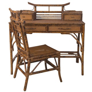 Faux Tortoise Finish Bamboo Desk & Chair