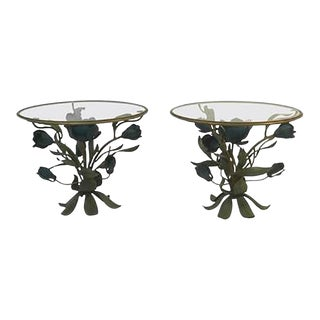 Beautiful Pair of Mixed-metal Side or Accent Tables With Flower and Leaf Design For Sale