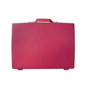 1960s Vintage Samsonite Pink Hardshell Briefcase With Tropical Cherry Pattern For Sale