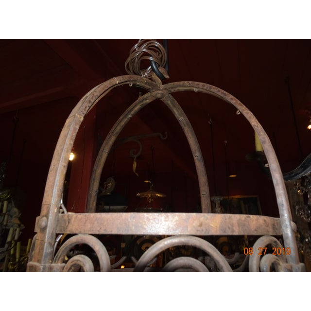 Metal Vintage French Wrought Iron Chandelier For Sale - Image 7 of 12