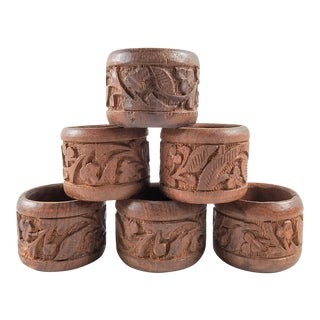 Carved Wood Napkin Rings - Set of 6