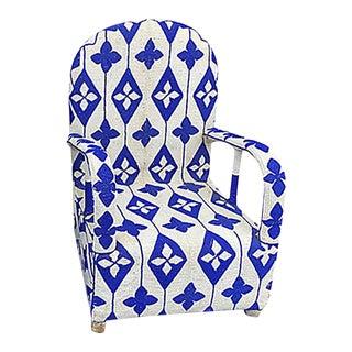 African Nigerian Yoruba Blue & White Beaded Chair For Sale