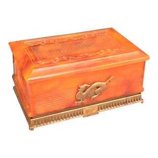 Tortoise Celluloid Jewelry Box For Sale