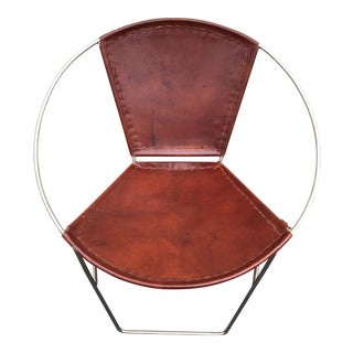 Modern Leather and Round Metal Frame Side Chair