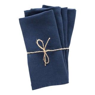 Bleu Minuit Linen Napkins - Set of 4 For Sale