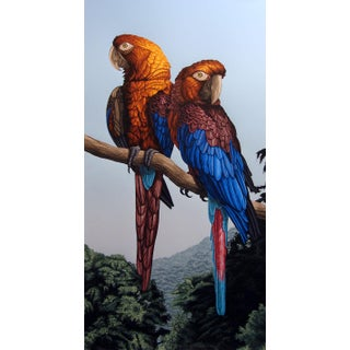 Dallas John Cuban Macaws Signed Realism Serigraph Artwork Unframed, 1984 For Sale