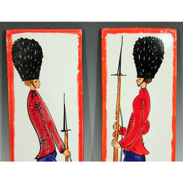 Italian 1960s Pottery Italian Petucco Tiles Beefeater Raymor Hanging Plaques Ceramic - a Pair For Sale - Image 3 of 11