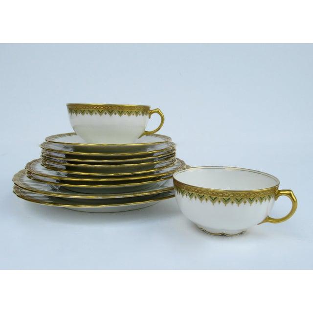 "Art Deco C1930s French Art Deco Limoges ""Elite Works"" 24k Gilt Gold & Green Rimmed Asst. Dishes & Cups -Set of 11 For Sale - Image 3 of 13"