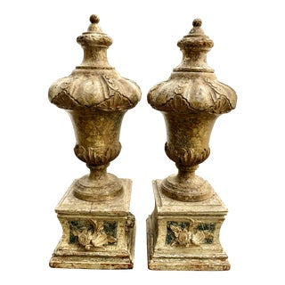 Italian 18th C Wood Carved Finials - a Pair For Sale
