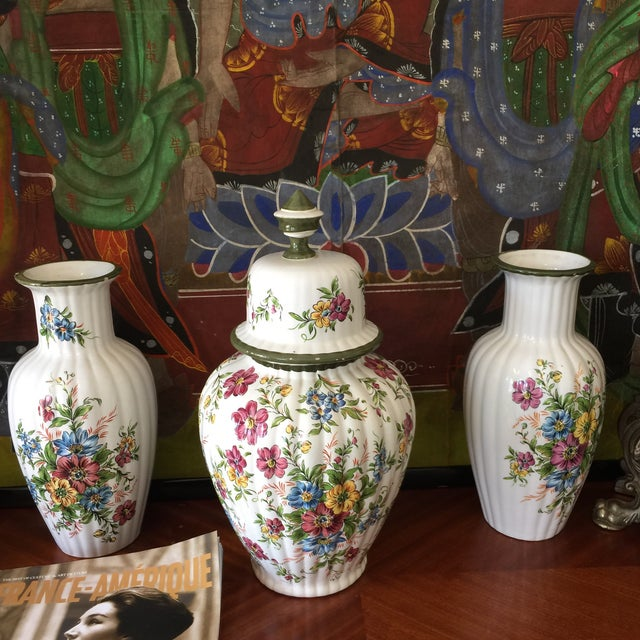 Floral Dutch Collection of Ceramic Vases - Set of 3 For Sale - Image 4 of 6