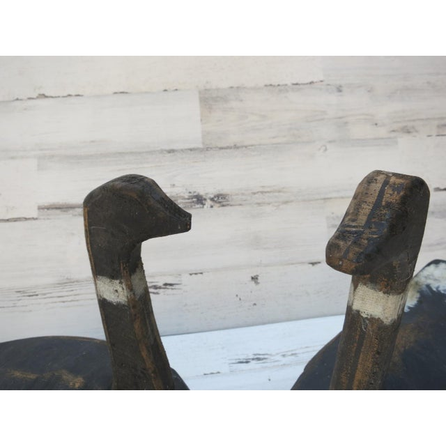 1920s Hand Carved Wood Goose Decoy Sculptures - a Pair For Sale - Image 5 of 10