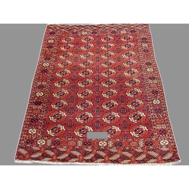 Islamic Red Tekke Main Carpet - 7′4″ × 9′4″ For Sale - Image 3 of 3
